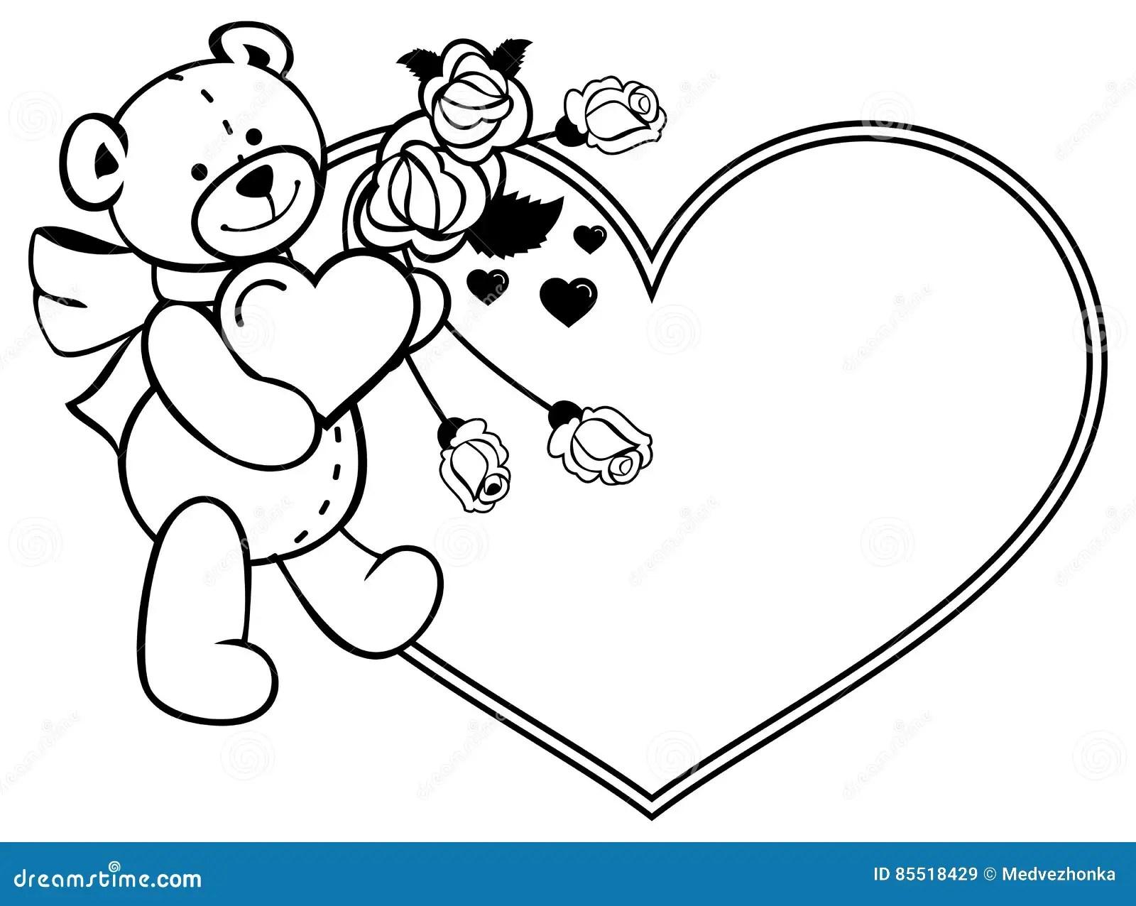 Heart Shaped Frame With Outline Roses Teddy Bear Holding Heart Stock Illustration