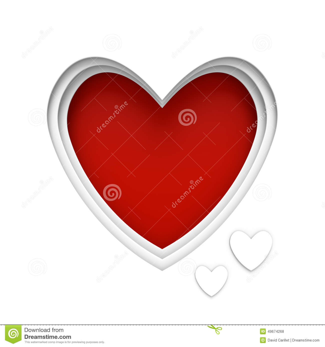 Heart Shaped Frame Over Red Background With Center Space
