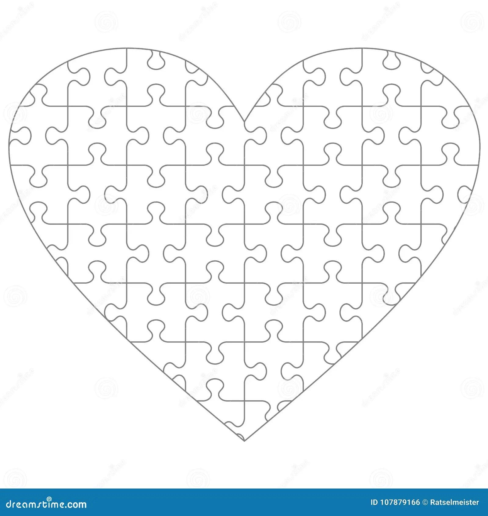 Heart Shaped Jigsaw Puzzle Stock Illustrations 43 Heart