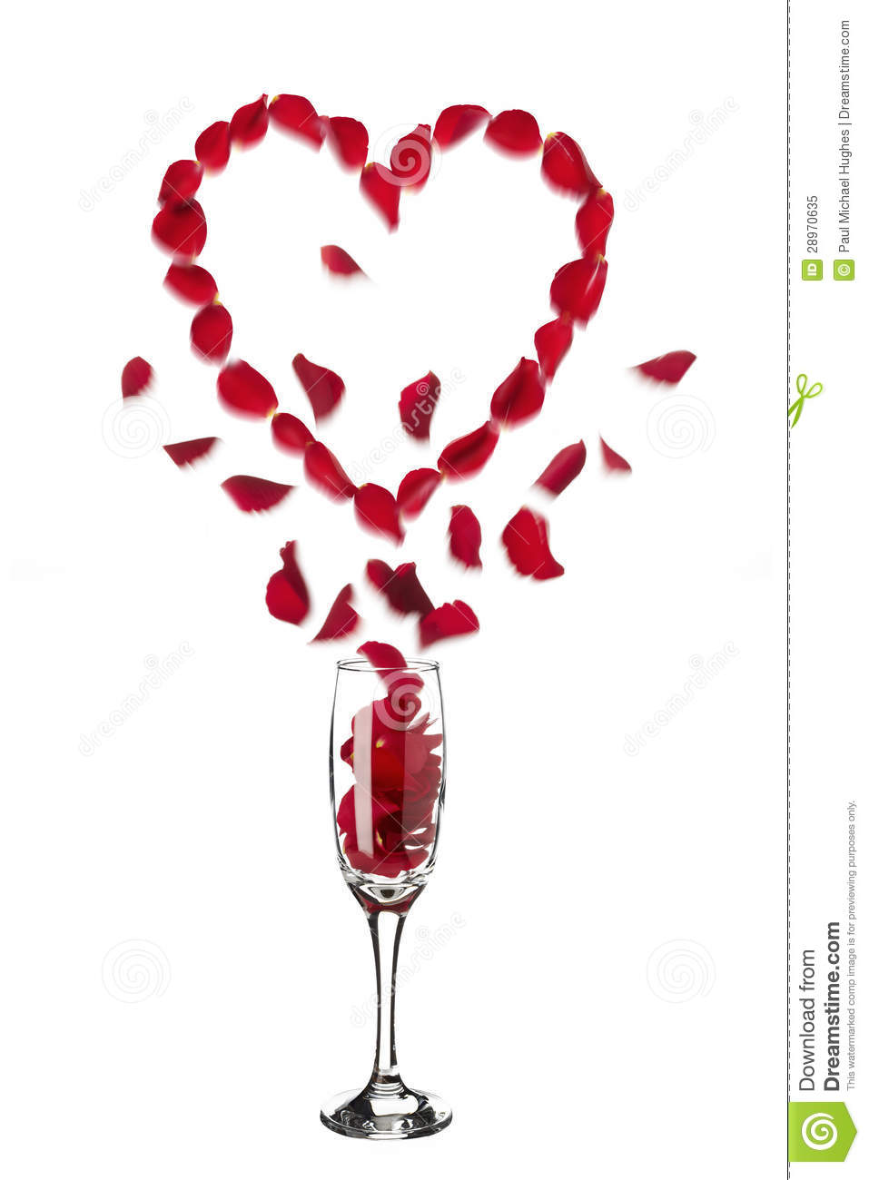 Heart Shaped Red Rose Petals Popping Out Of Champagne
