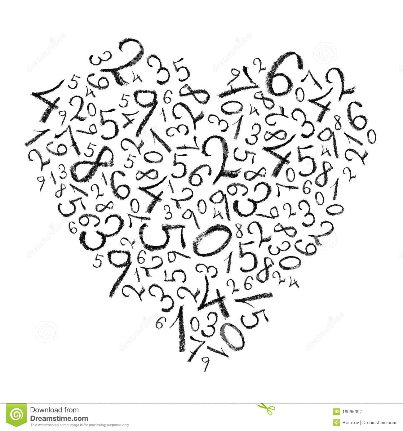 Heart Shaped Simple Numbers Stock Illustration