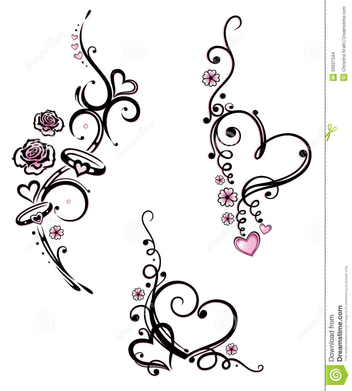 Hearts Rings Wedding Stock Images