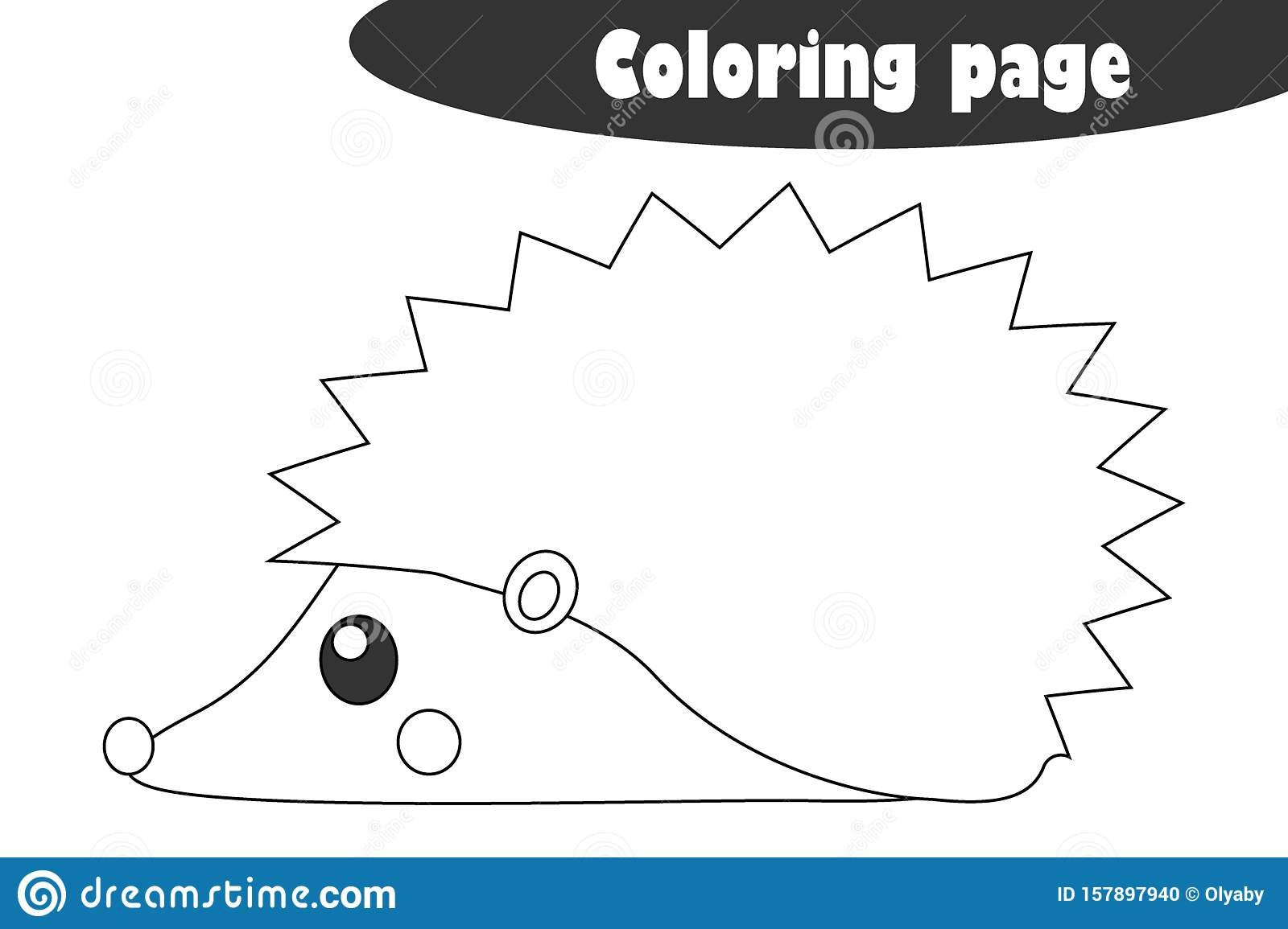Hedgehog In Cartoon Style Autumn Black White Coloring