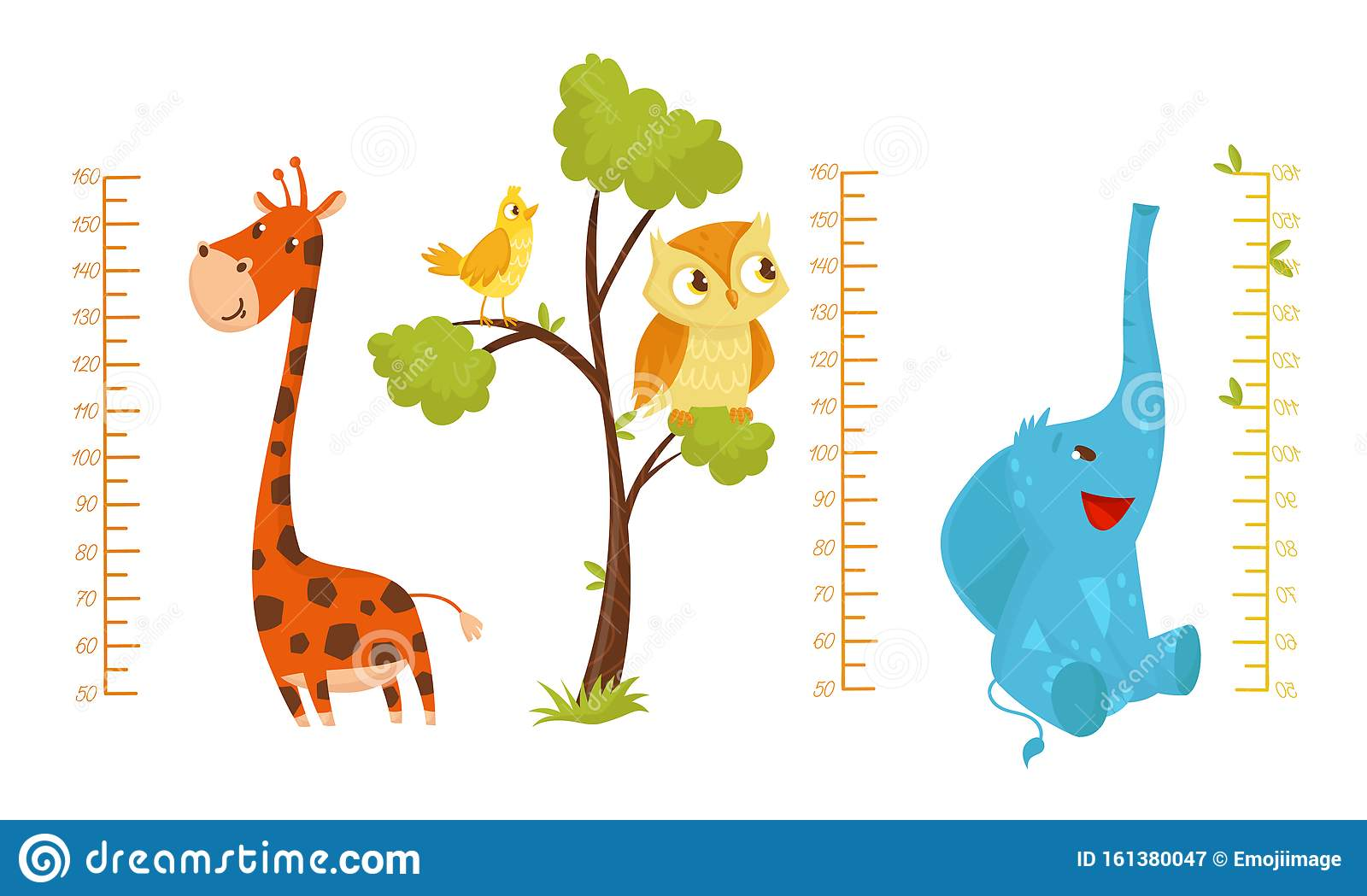 Height Children Chart With African Cute Animal Characters