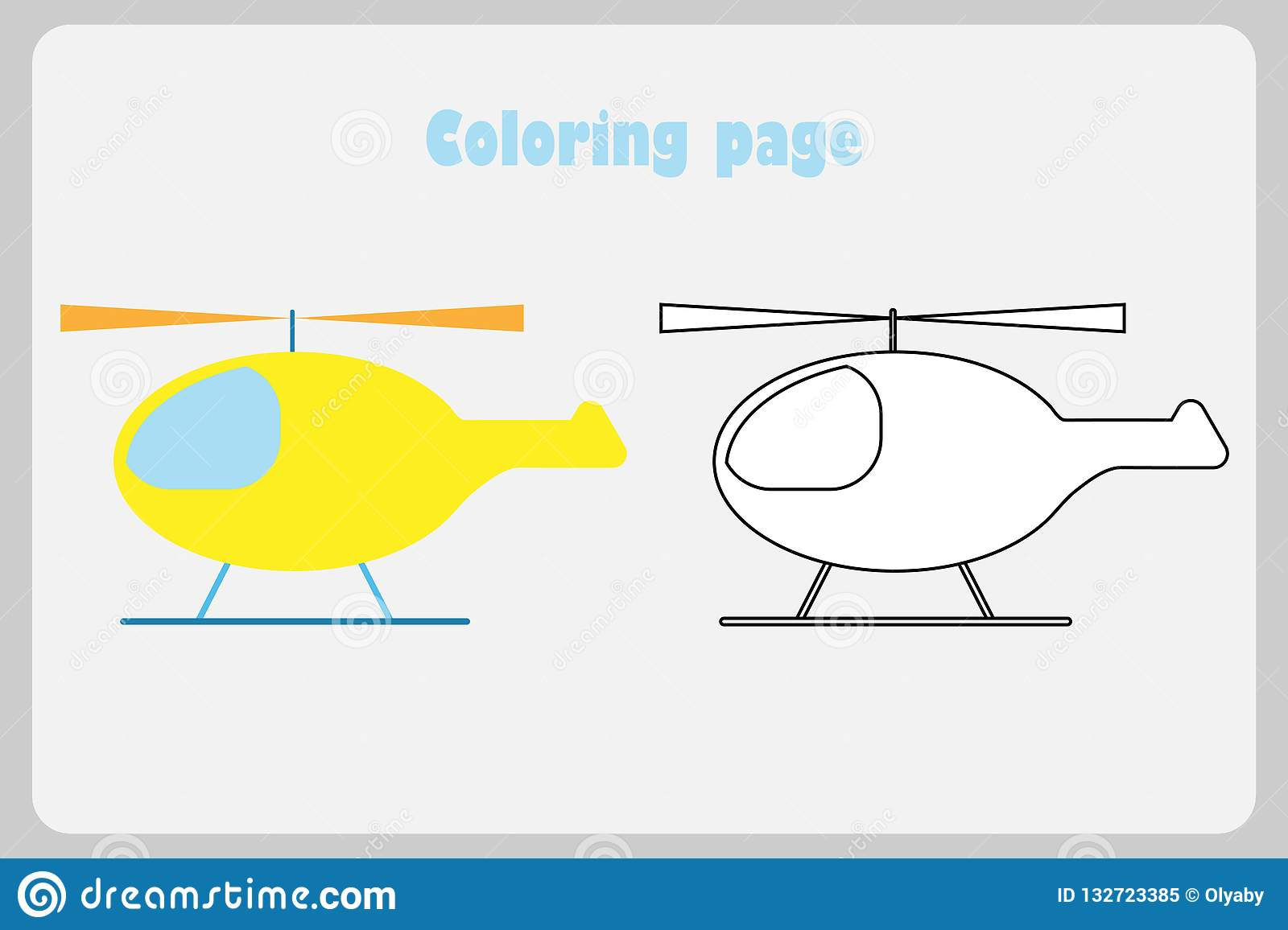 Helicopter In Cartoon Style Coloring Page Education