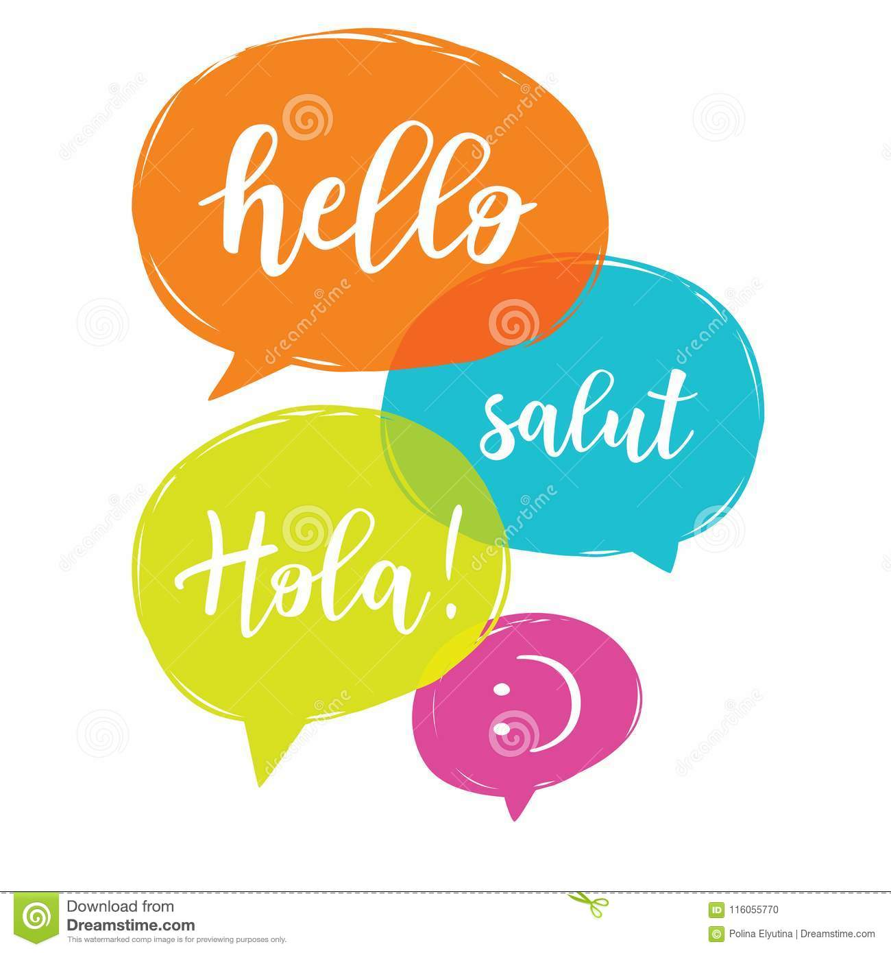 Hello In Different Languages Stock Vector