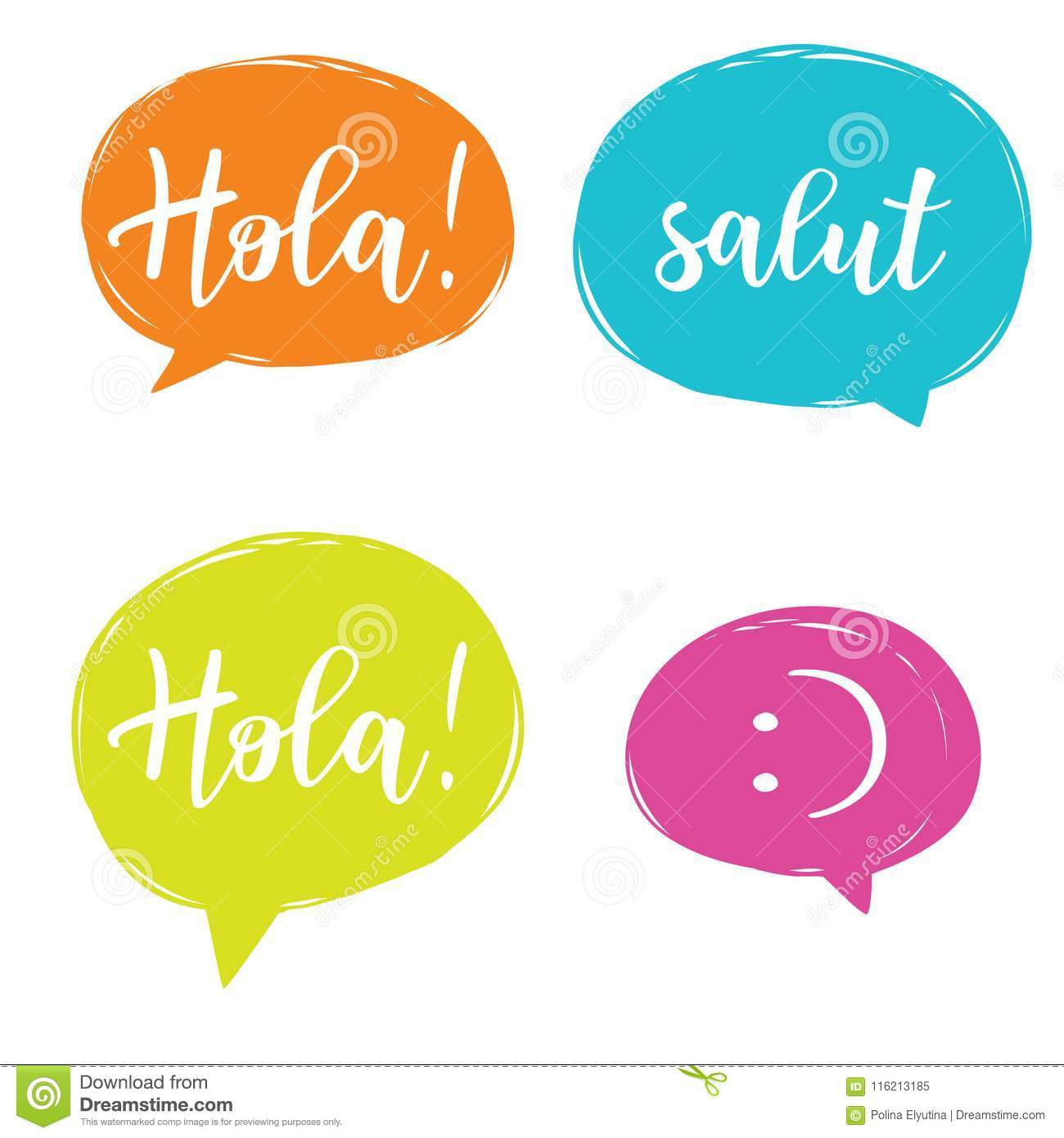 Hello In Different Languages Set Stock Vector