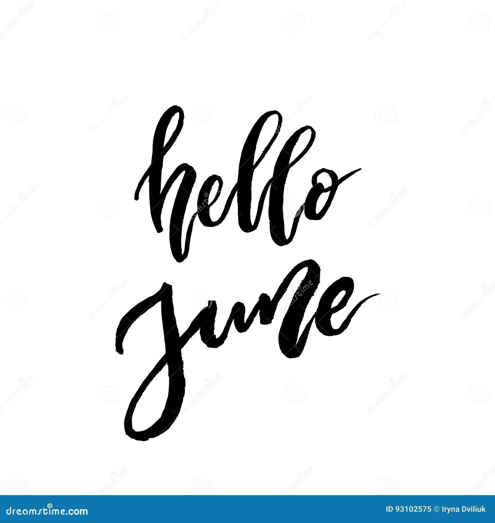 Hello June Brush Lettering Stock Vector