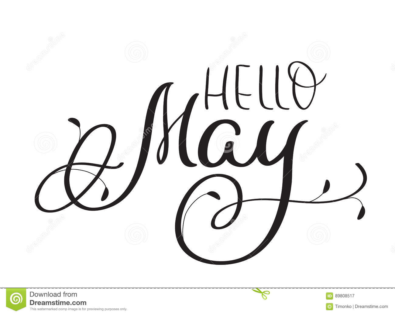 Hello May Text On White Background Hand Drawn Vintage
