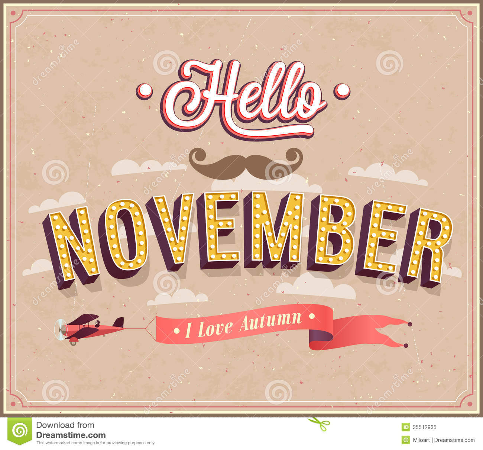 Hello November Typographic Design Stock Vector Image 35512935