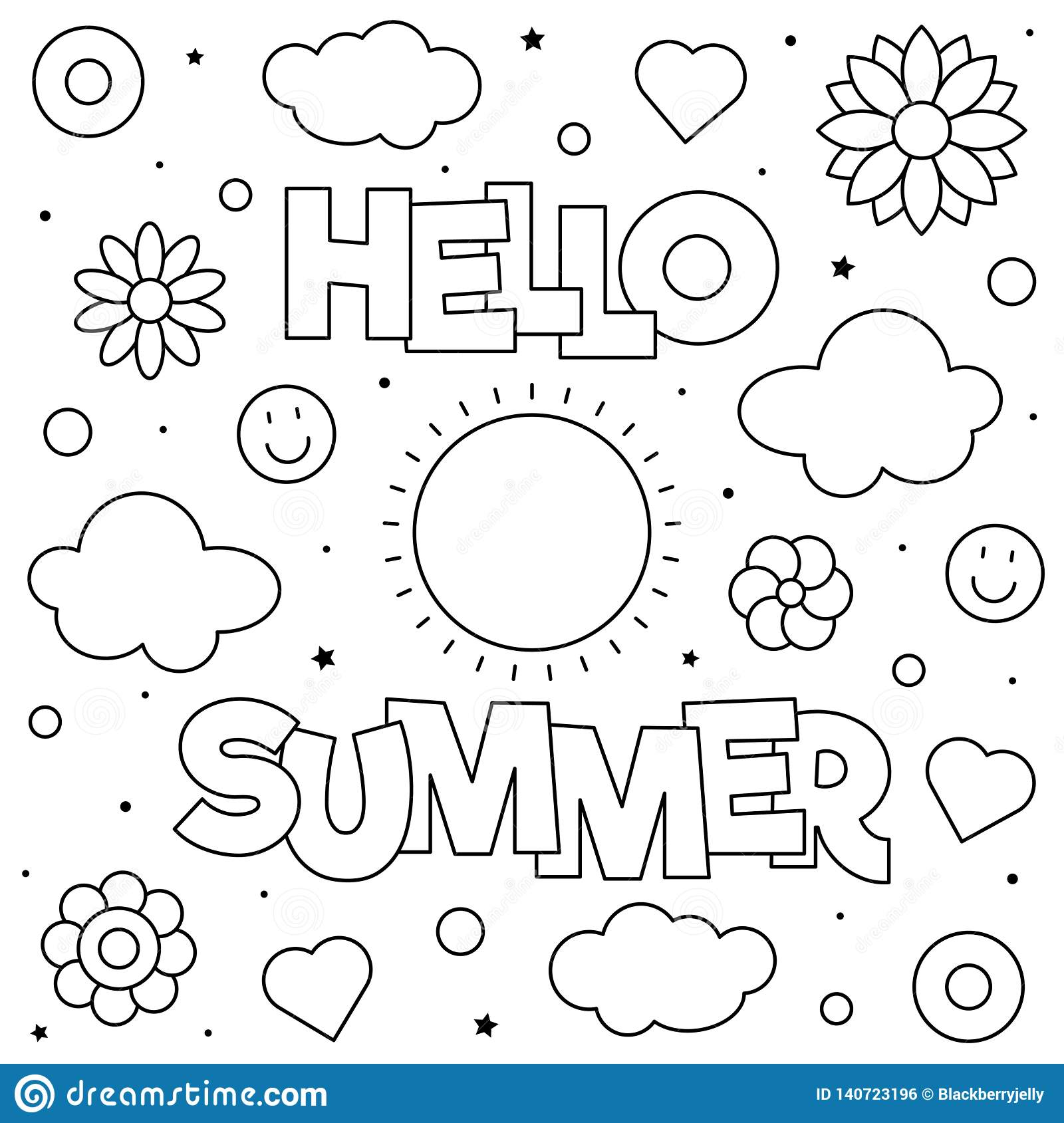 Hello Summer Coloring Page Vector Illustration Sun
