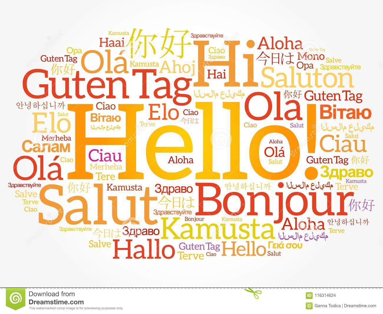 Hello Word Cloud In Different Languages Stock Illustration