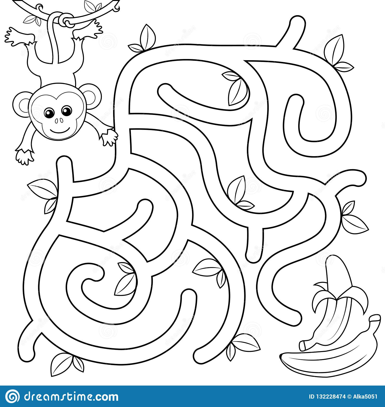 Help Monkey Find Path To Banana Labyrinth Maze Game For