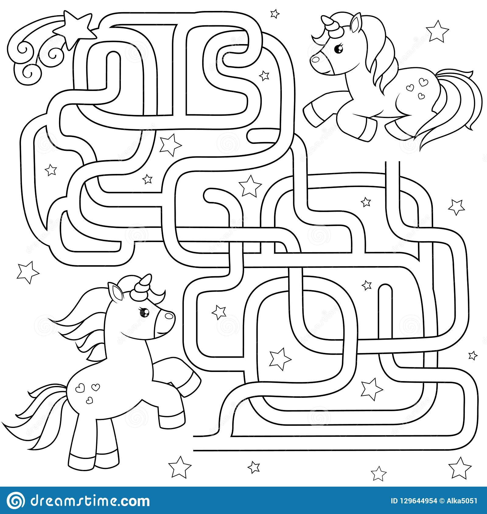 Help Unicorn Find Path To Friend Labyrinth Maze Game For