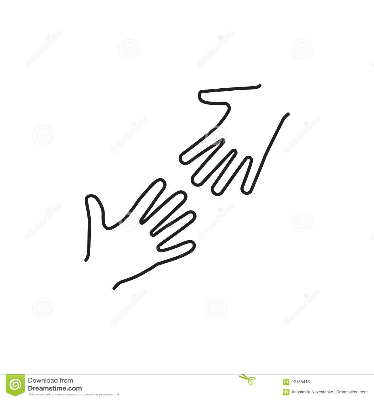 Helping Hands Black Icon Stock Vector Illustration Of