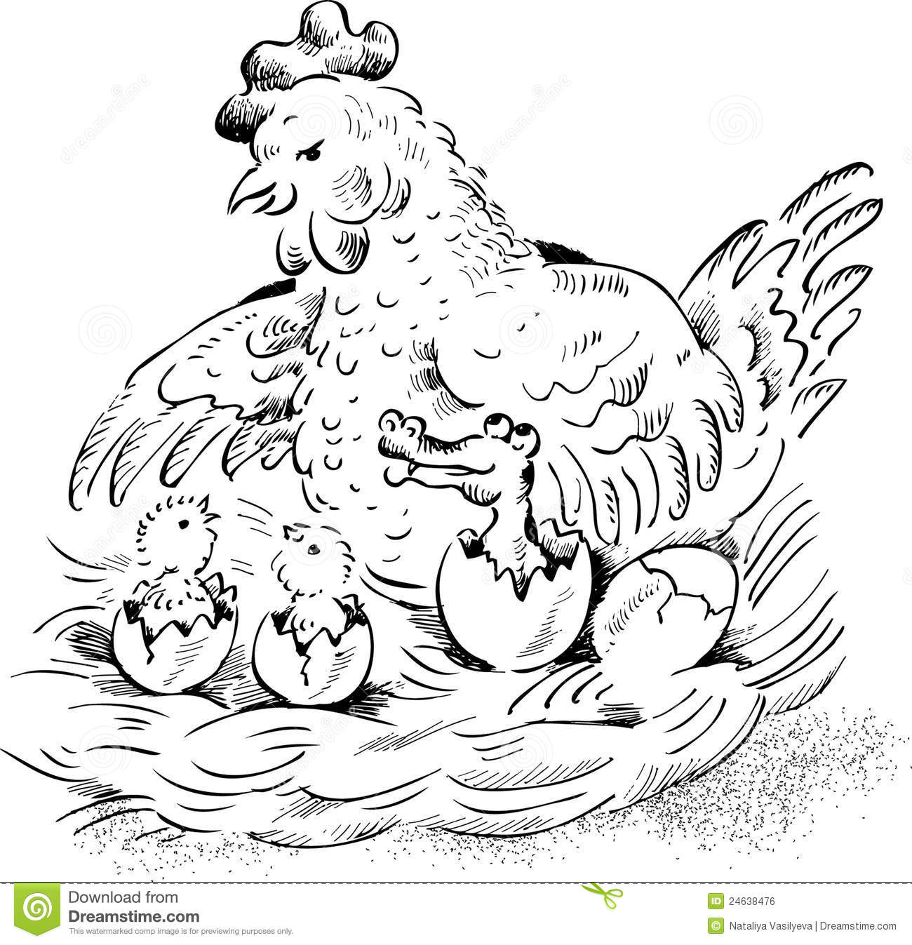 Hen On Nest With Hatching Chicken And Baby Crocodi Royalty Free Stock Image