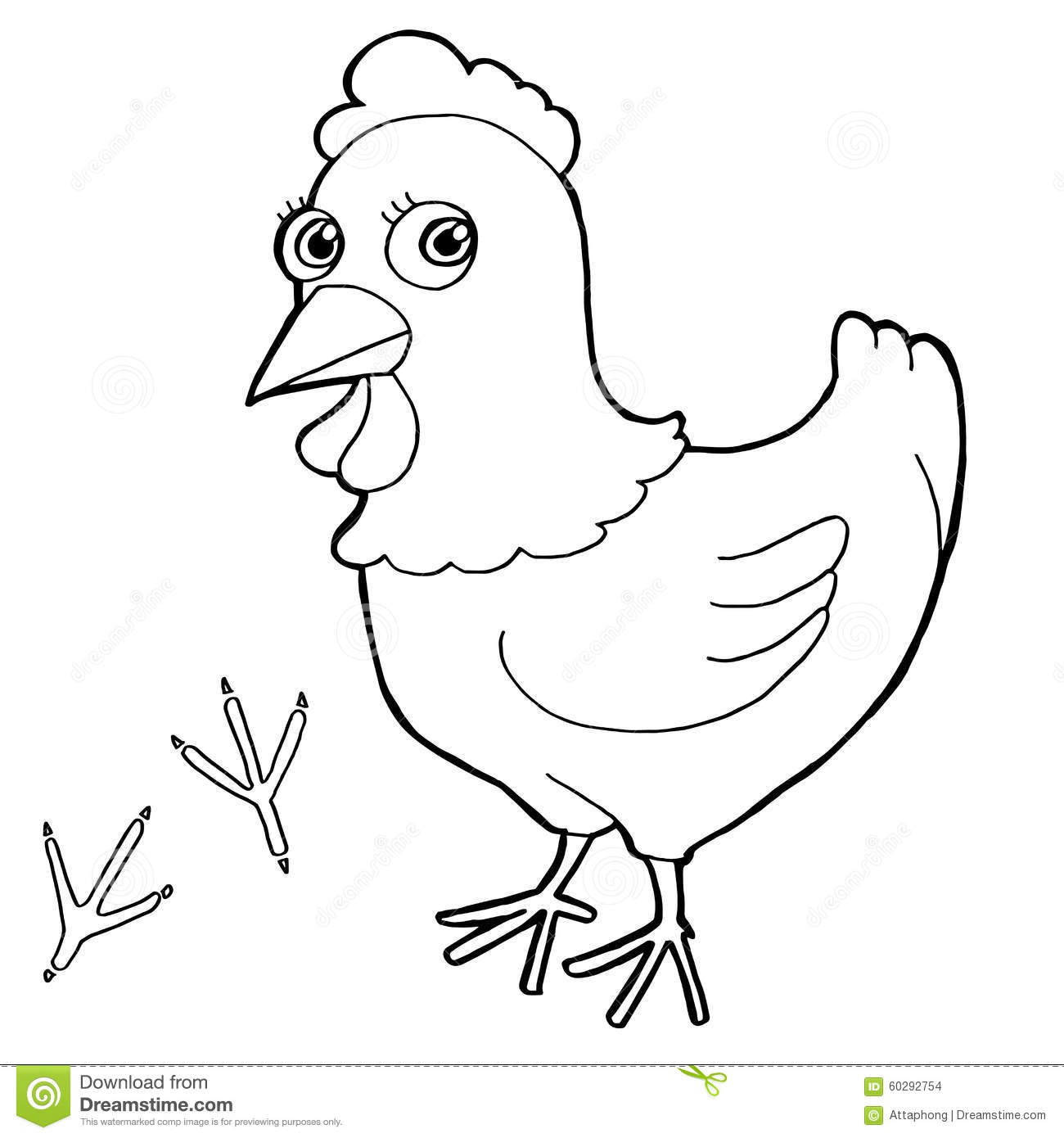 Hen With Paw Print Coloring Pages Vector Stock Vector