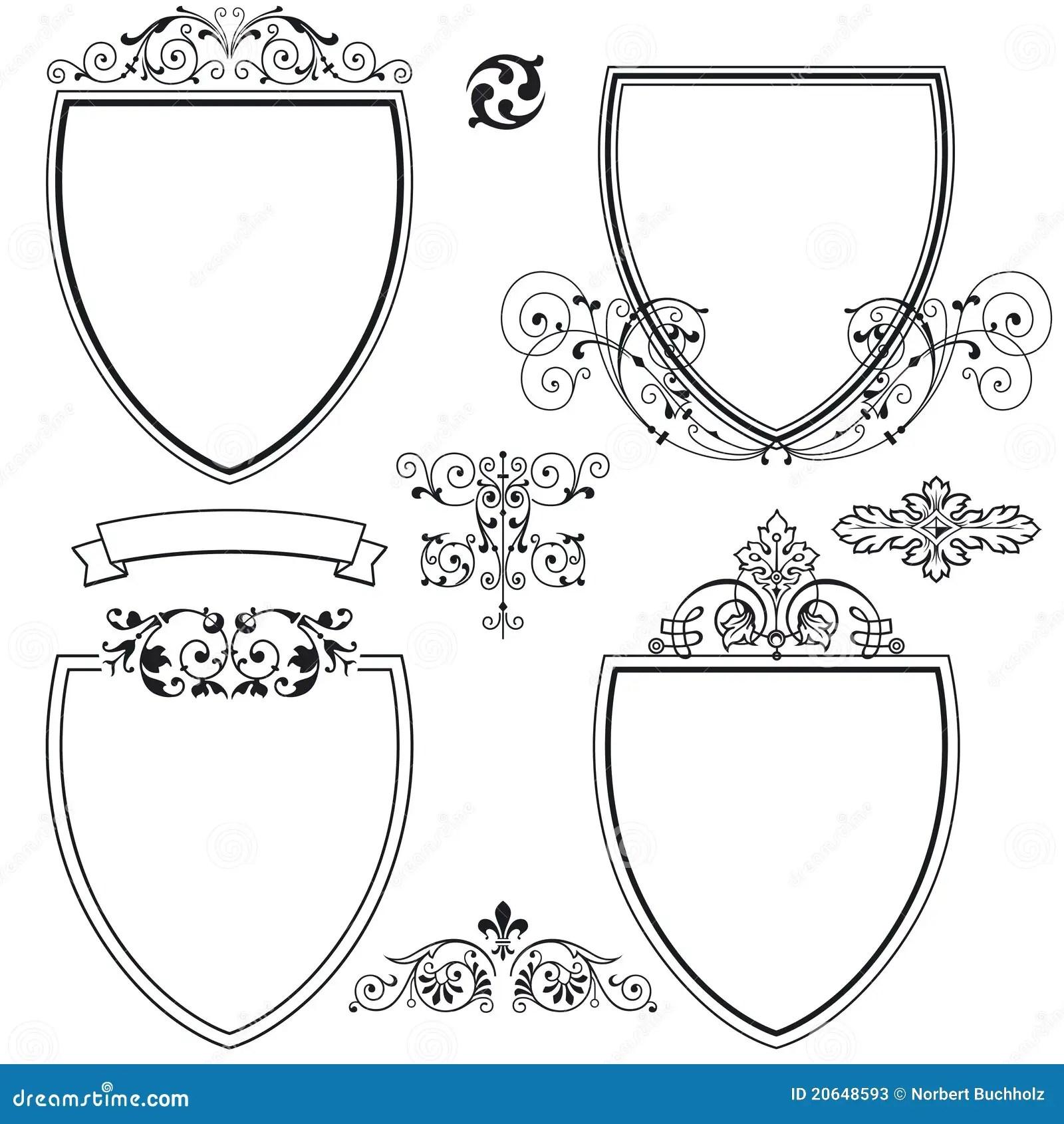 Heraldic Shields And Crests Stock Vector