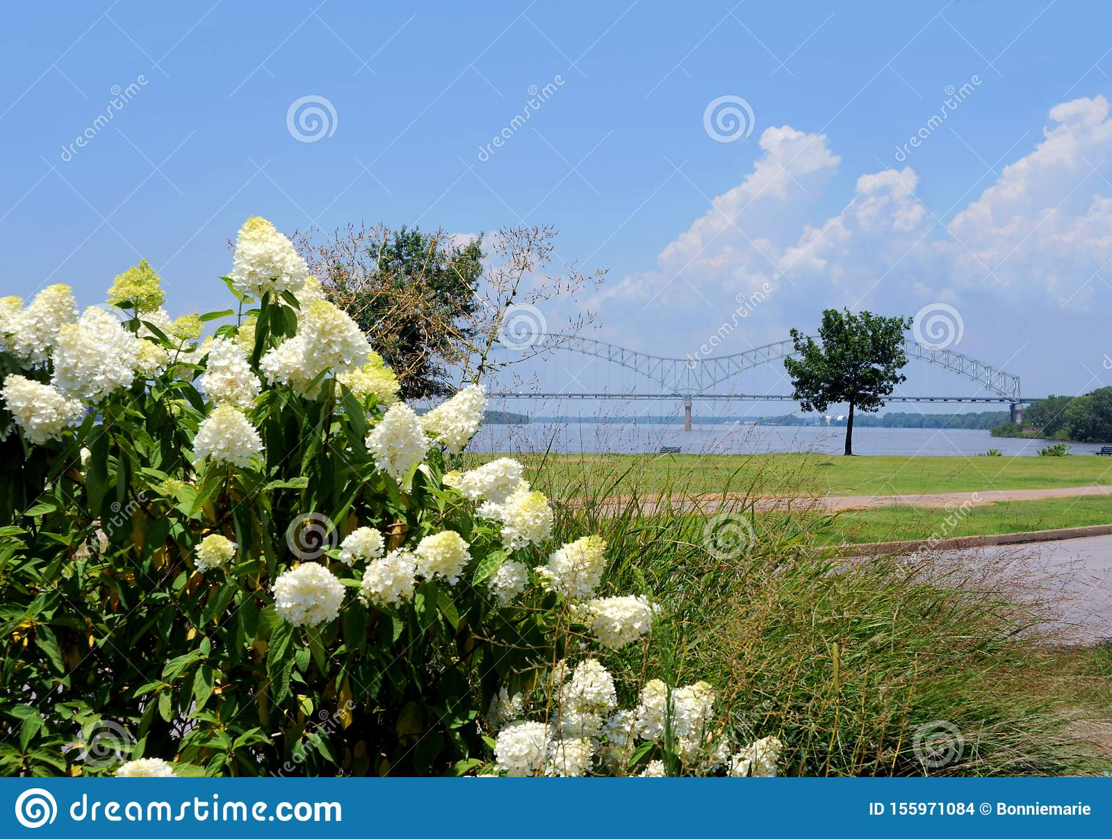 Hernando De Soto Bridge And Riverfront Park Stock Photo