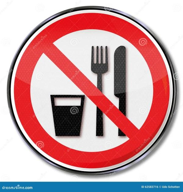 Het Eten Of Het Drinken Wordt Niet Toegestaan Vector ...