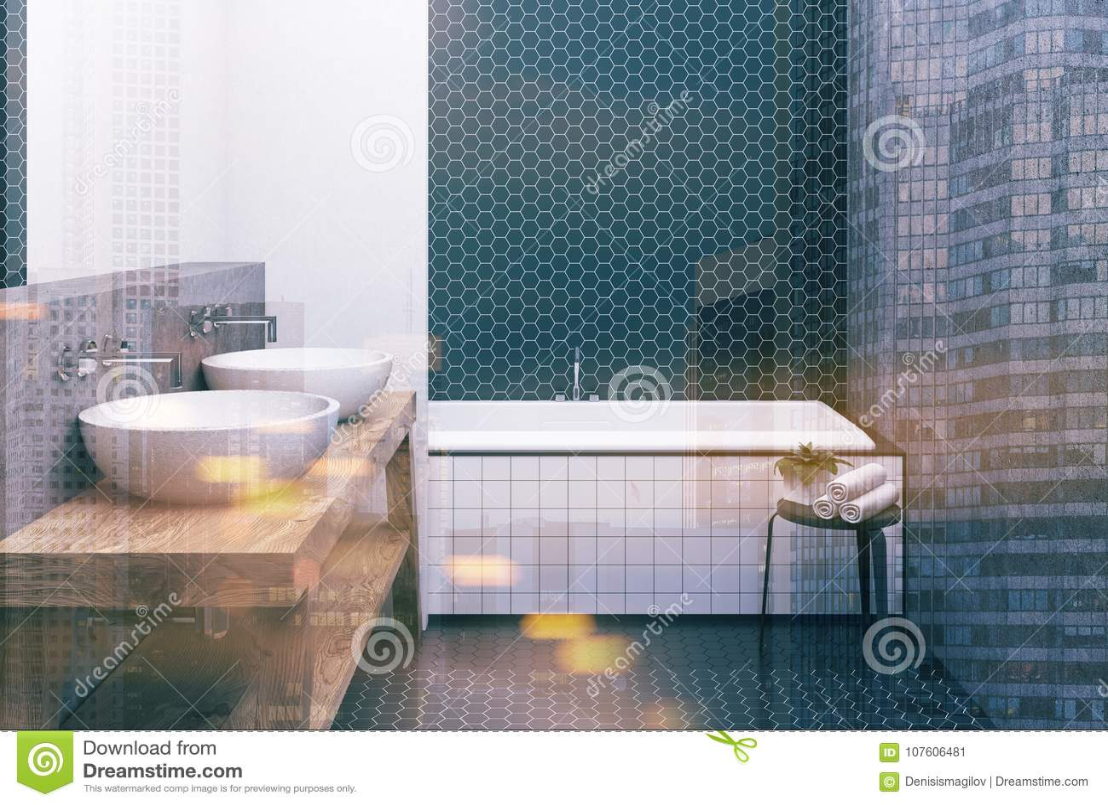 https www dreamstime com hexagon tile white black bathroom tub toned bathroom interior black hexagon tile concrete walls large angular tub image107606481