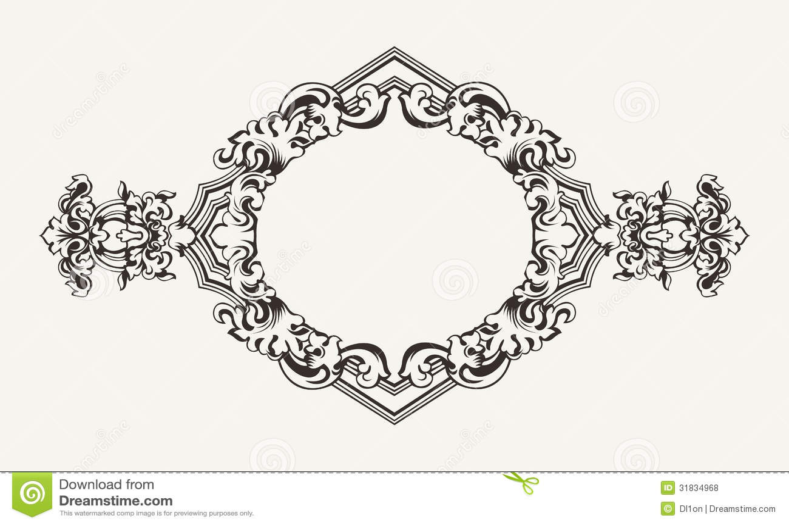 High Ornate Rhombus Frame Stock Vector Image Of