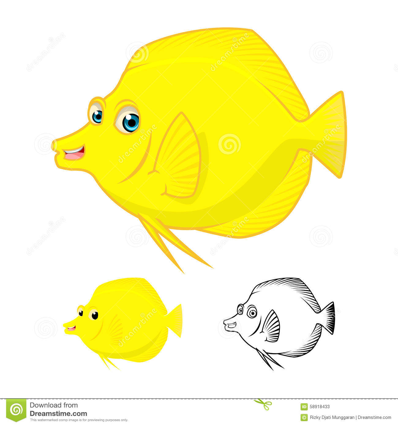 High Quality Yellow Tang Fish Cartoon Character Include