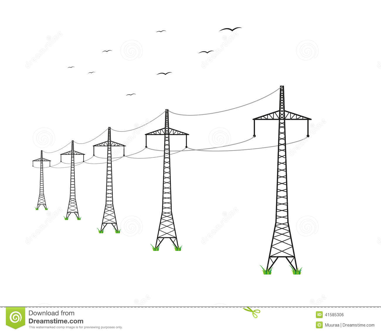 High Voltage Power Lines Stock Vector