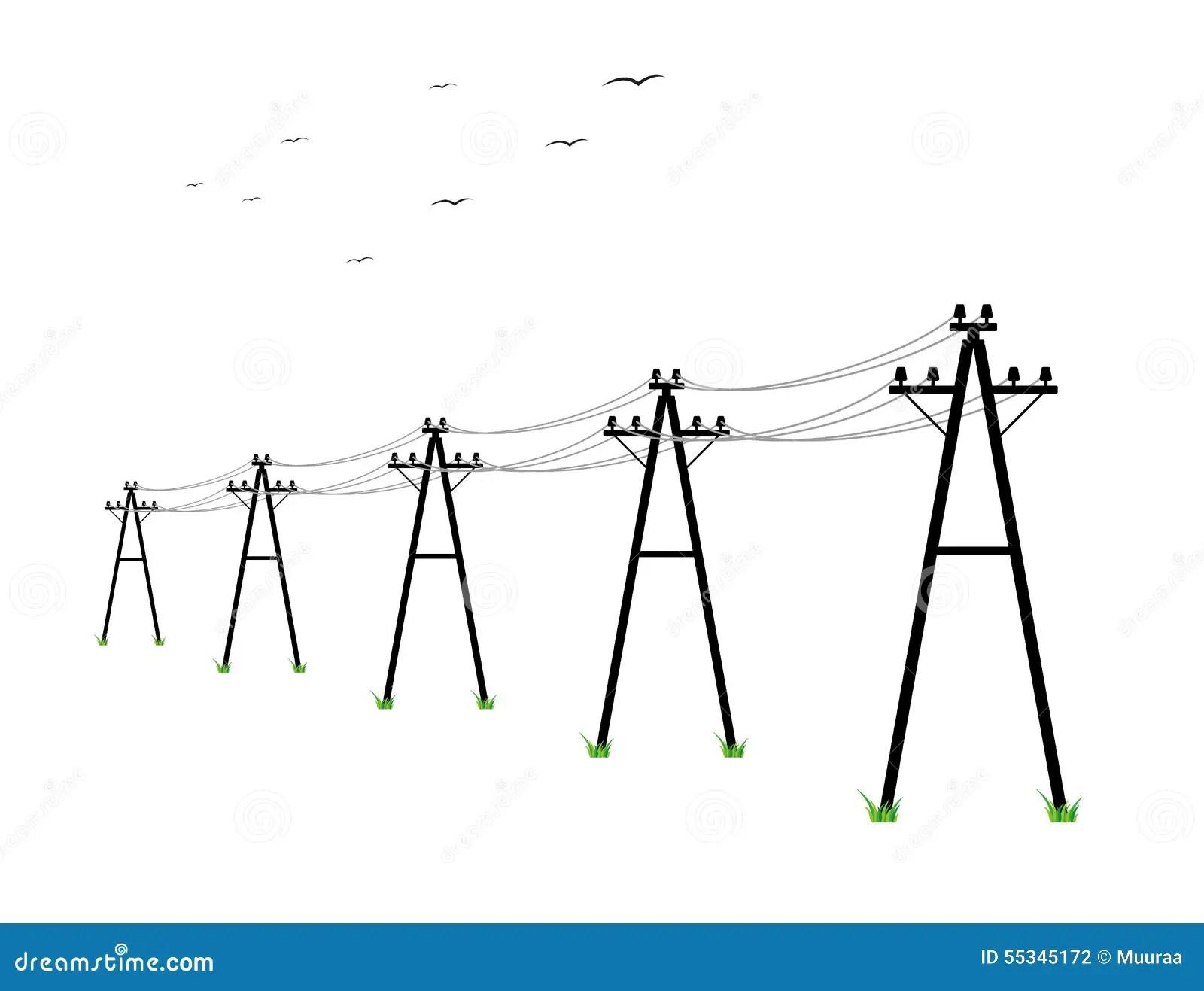 High Voltage Power Lines Stock Illustration