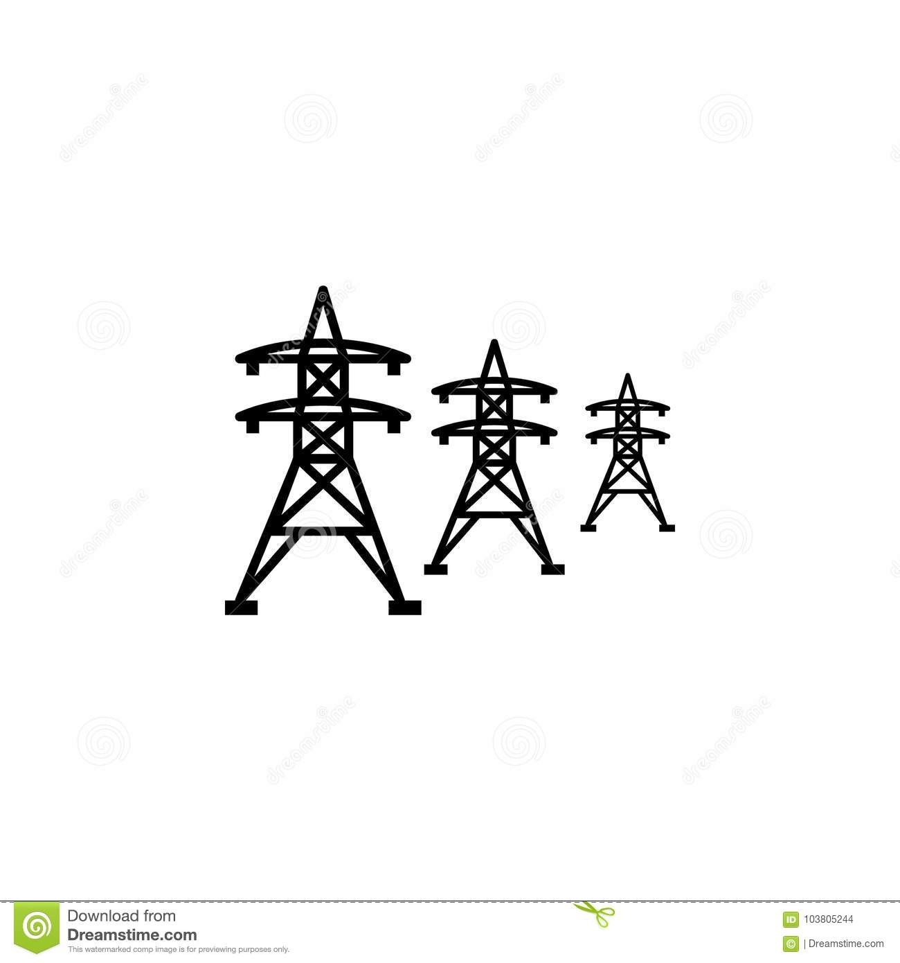 High Voltage Power Lines Icon Stock Vector