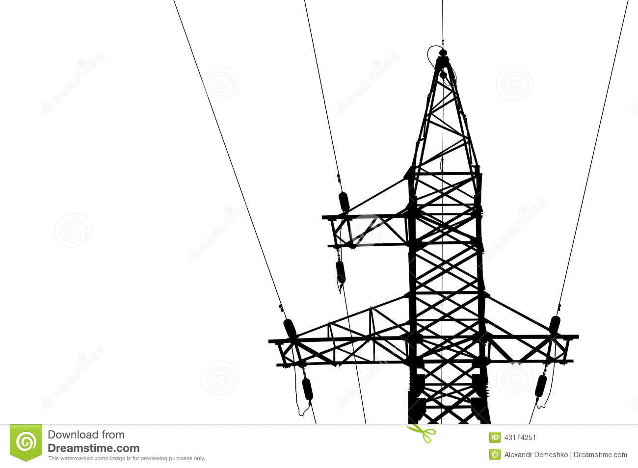 High Voltage Power Lines And Pylon Stock Vector