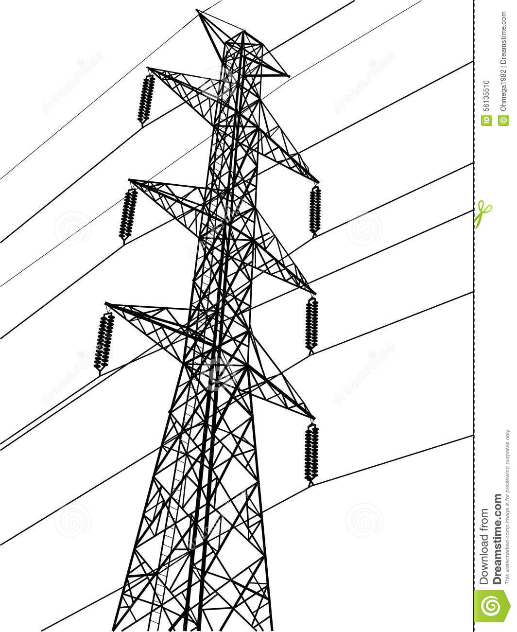 High Voltage Power Pole Vector Line Sketched Up Stock