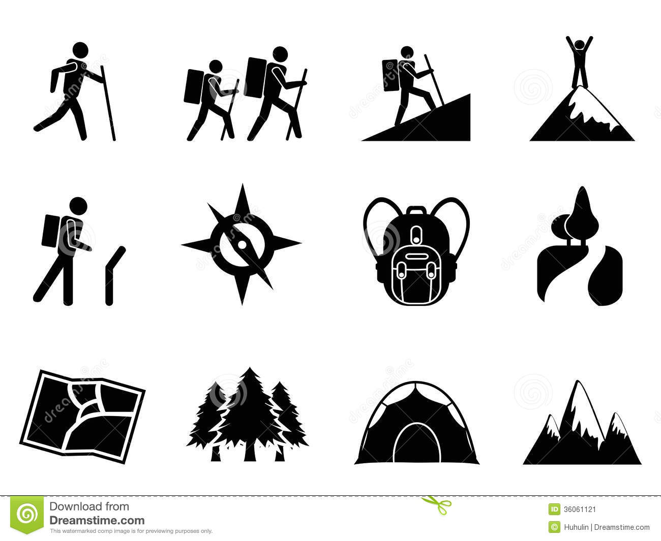 Hiking Icons Stock Vector Illustration Of Nature Park