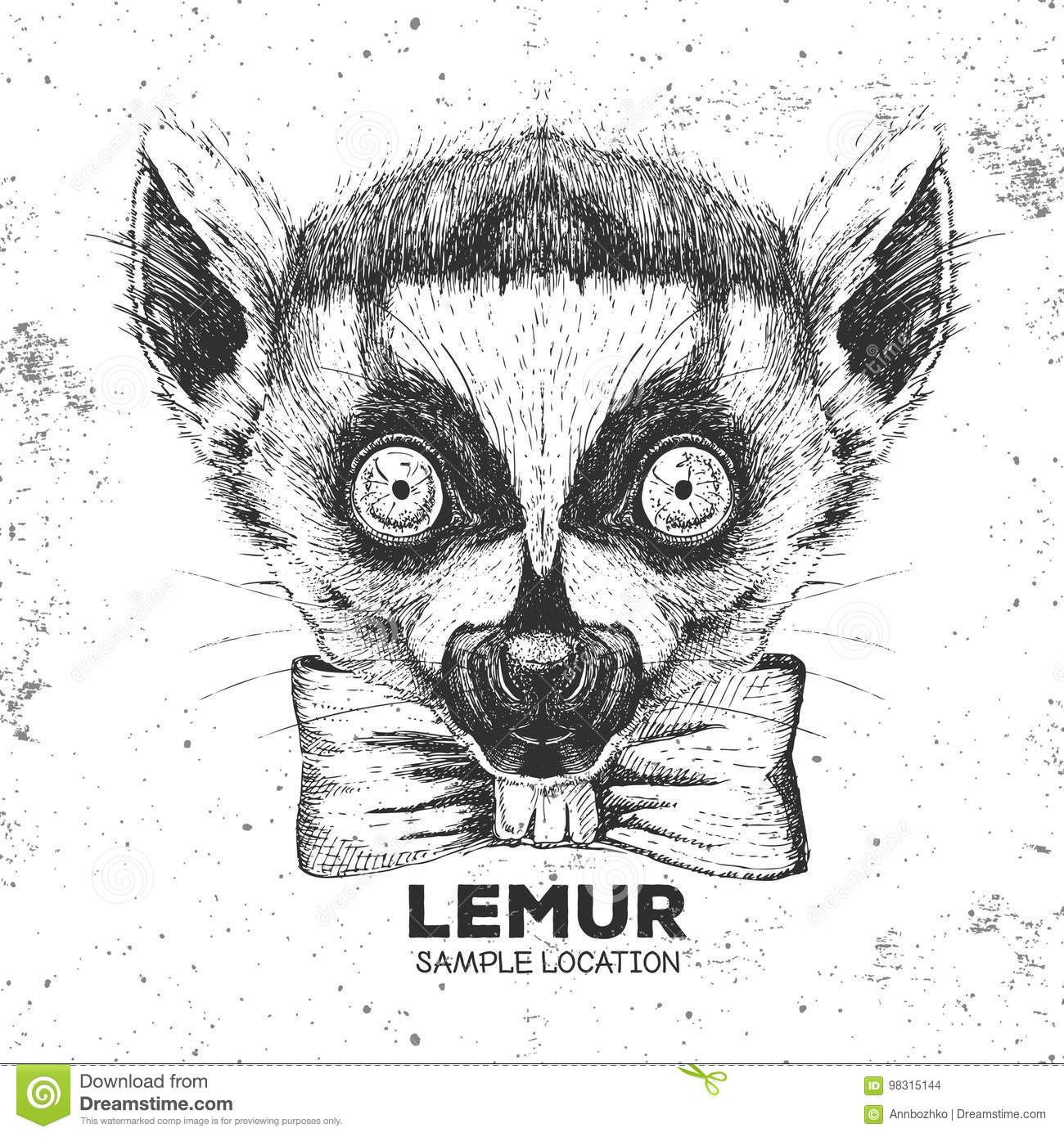 Portrait Of Lemur With Glasses And Bow Tie Royalty Free