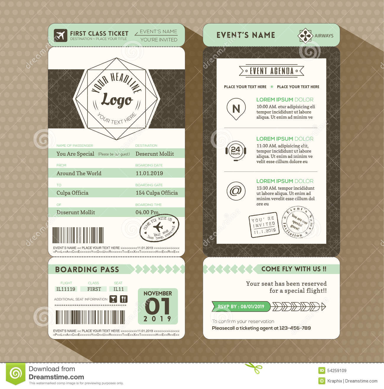 Hipster Design Boarding Pass Ticket Event Invitation Stock