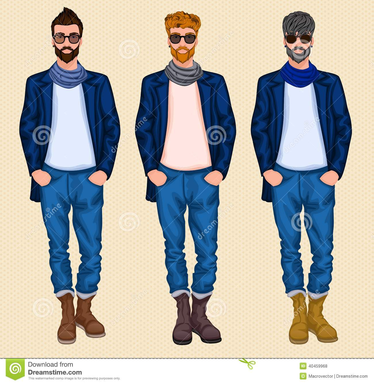 Hipster Man Set Stock Vector Image 40459968