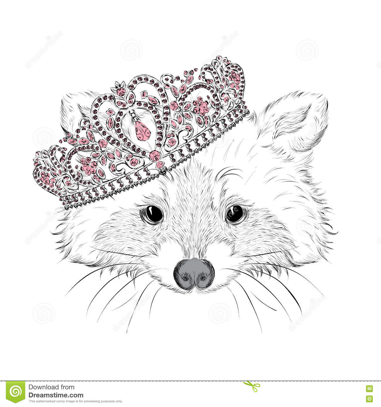 Hipster Raccoon In The Crown Vector Illustration For