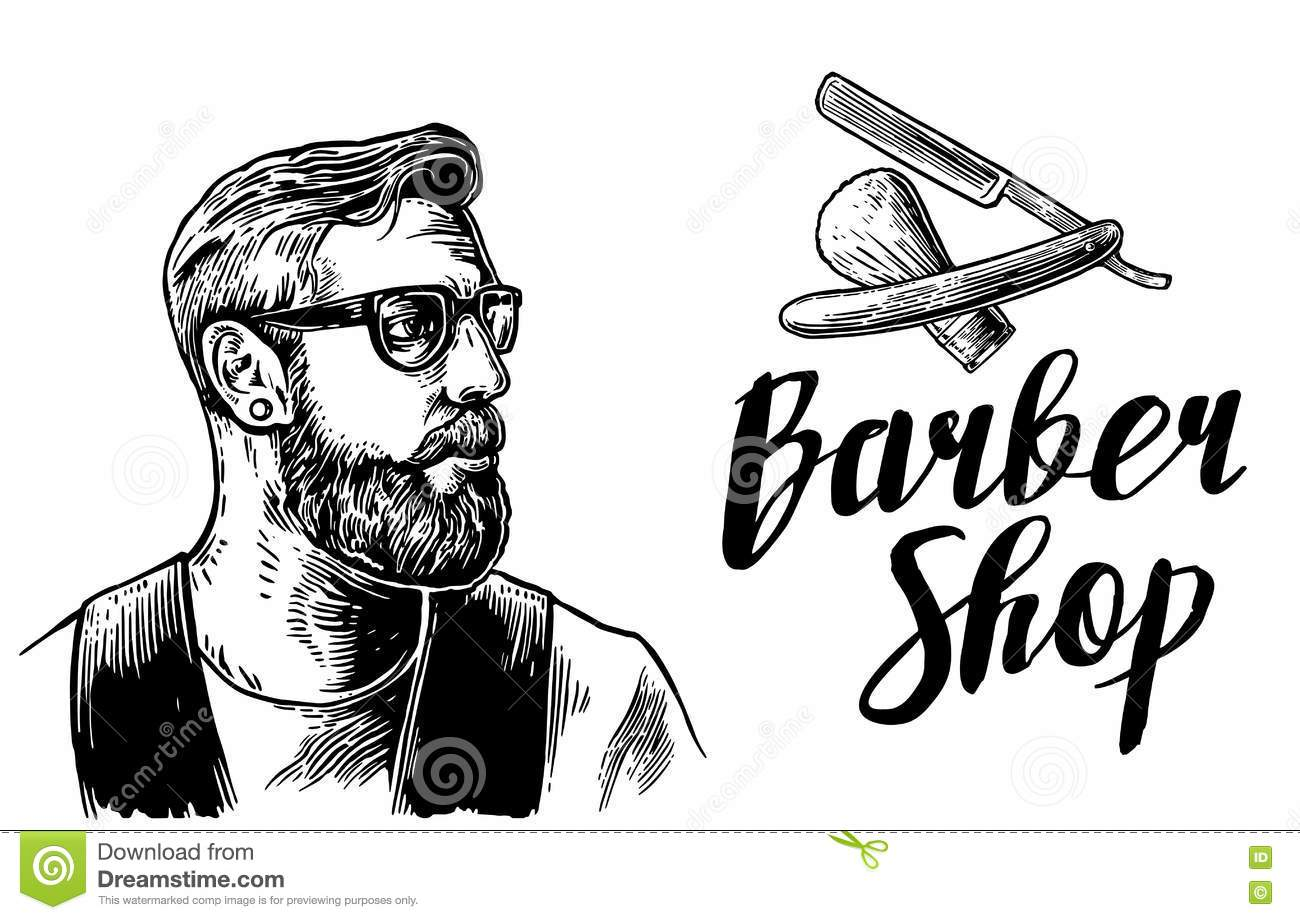 Hipster Shave Haircut In The Barbershop Vector Black And