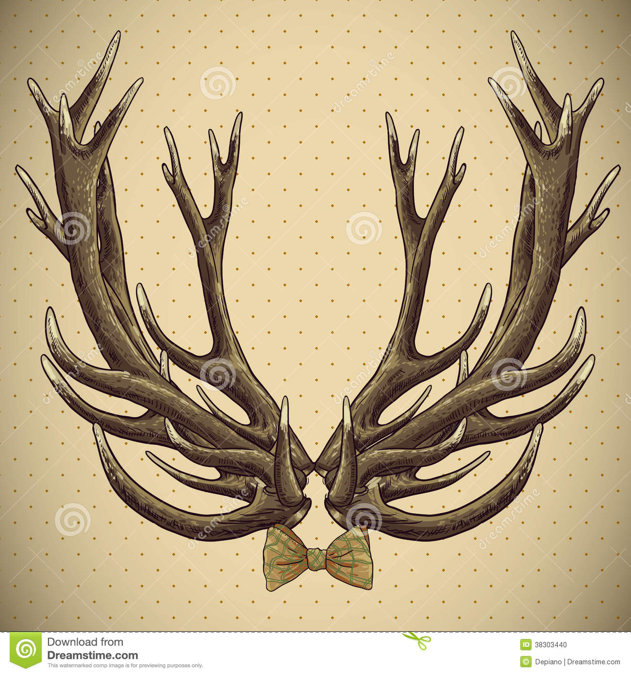 Hipster Vintage Background With Deer Antlers Stock Vector