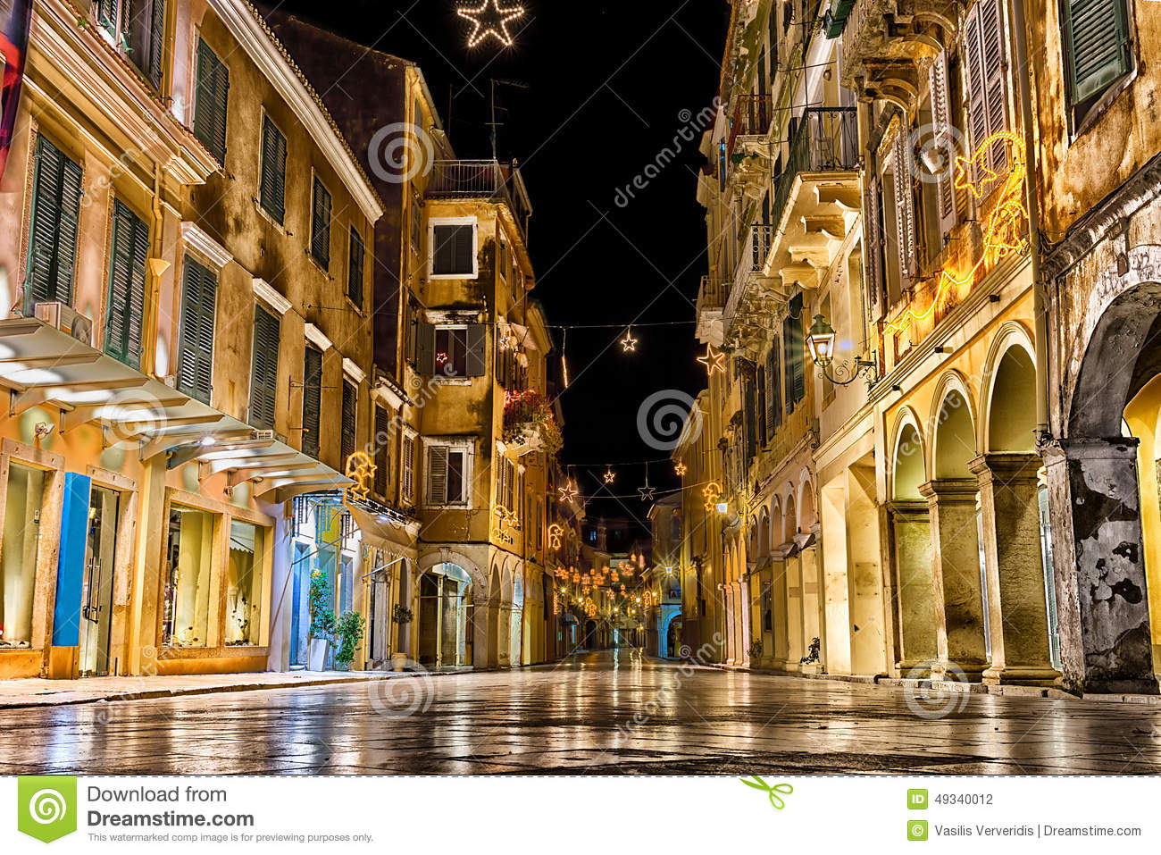 The Historic Center Of Corfu Town At Night Stock Photo