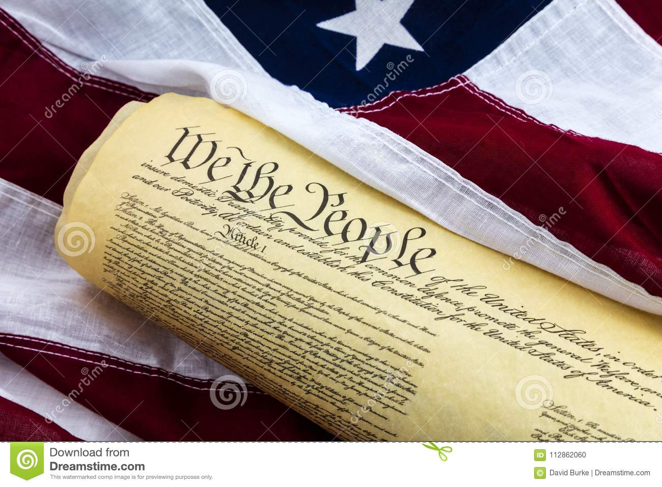 Historical Document We The People Flag Stock Photo