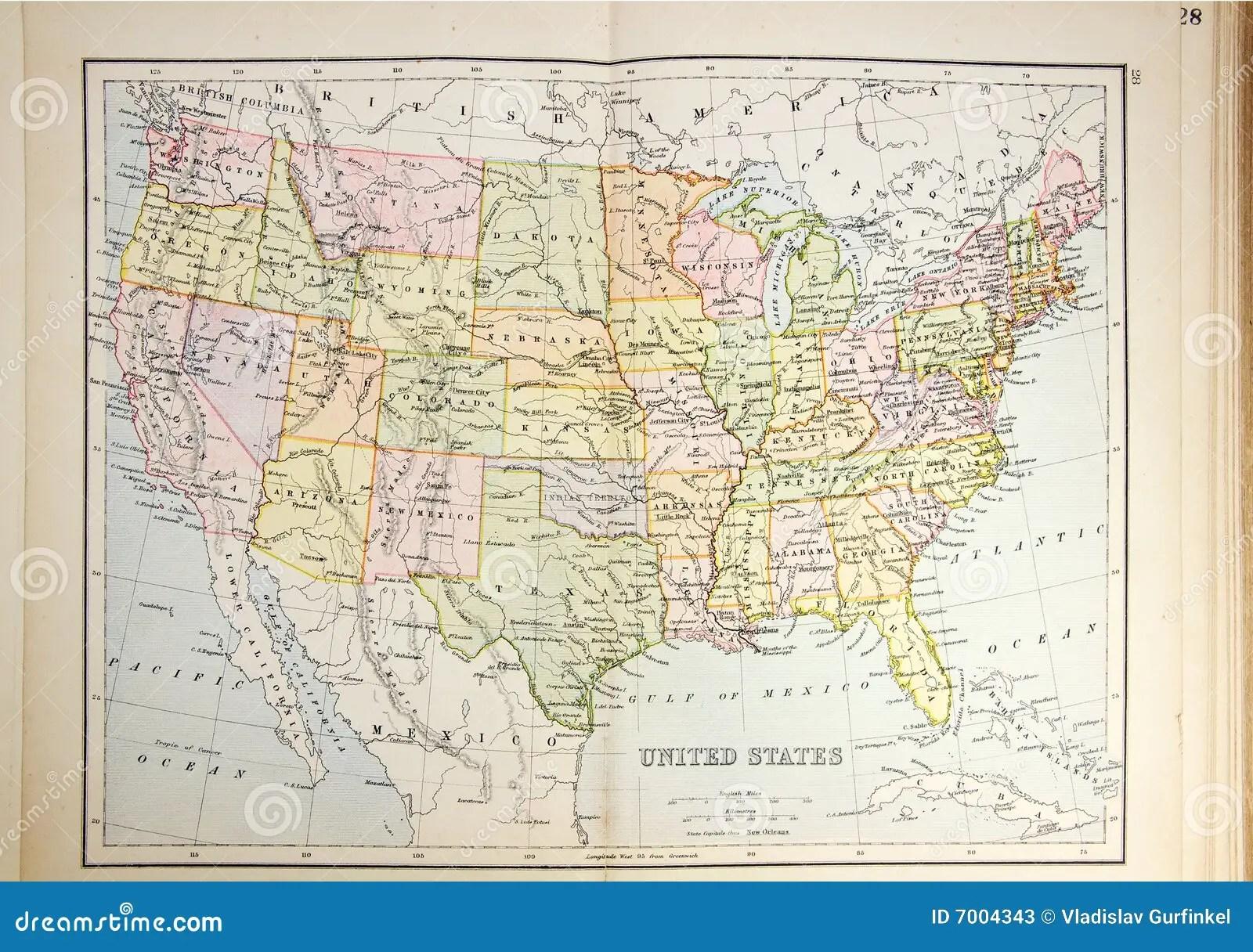 Historical Map Of Usa Stock Photos