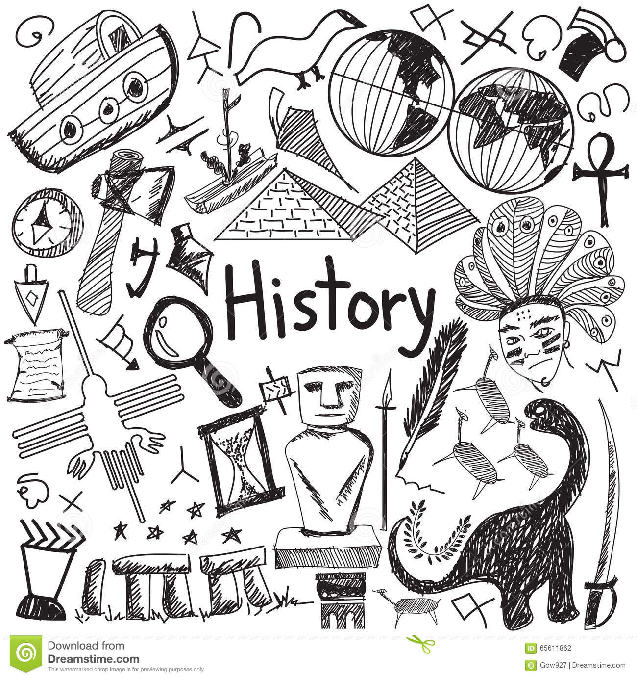 History Education Subject Handwriting Doodle Icon Stock