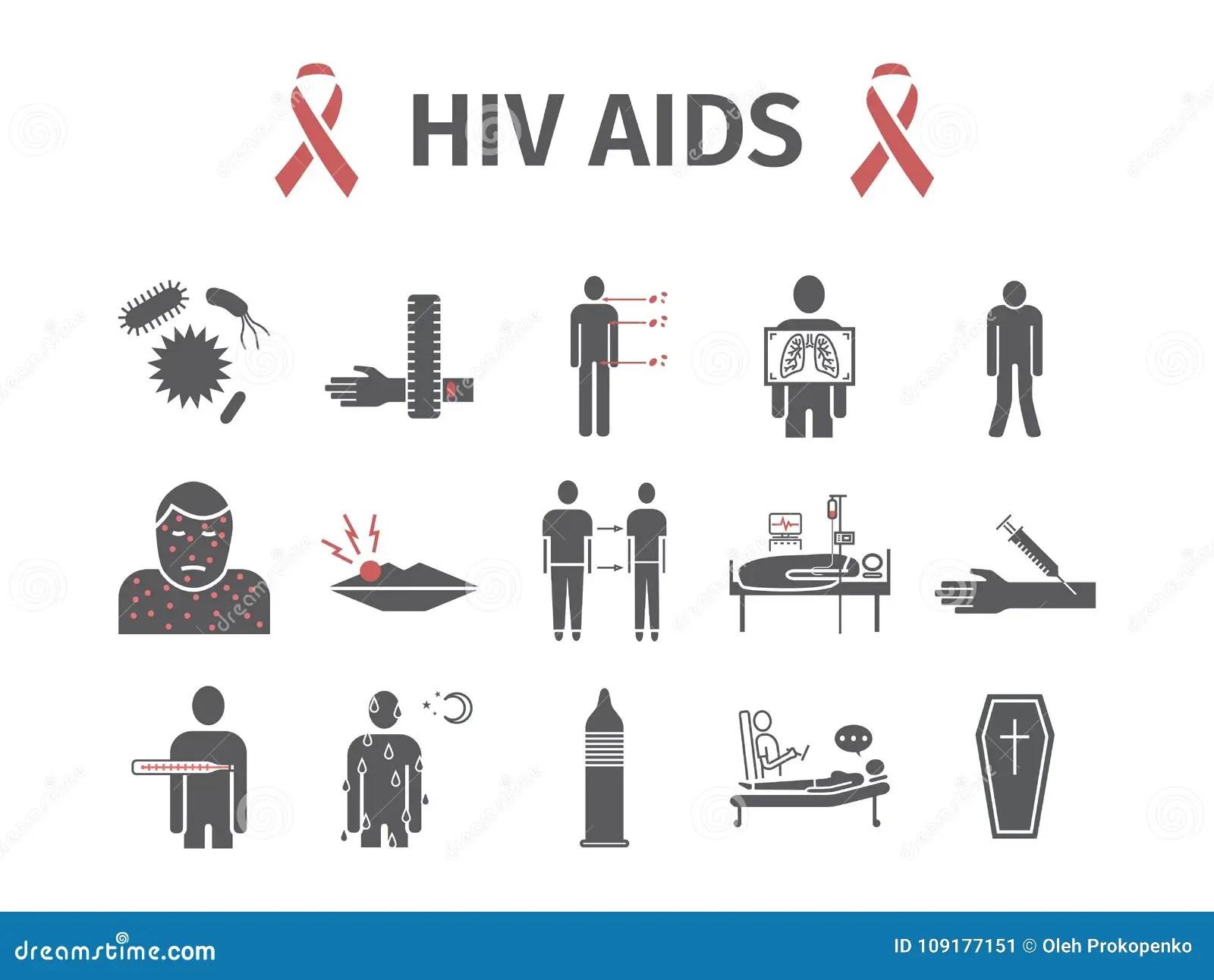 Hiv Aids Symptoms Treatment Flat Icons Set Vector