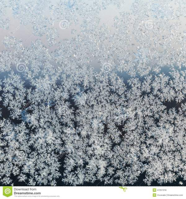 Hoar Frost On Window Pane On Winter Evening Stock Photo ...