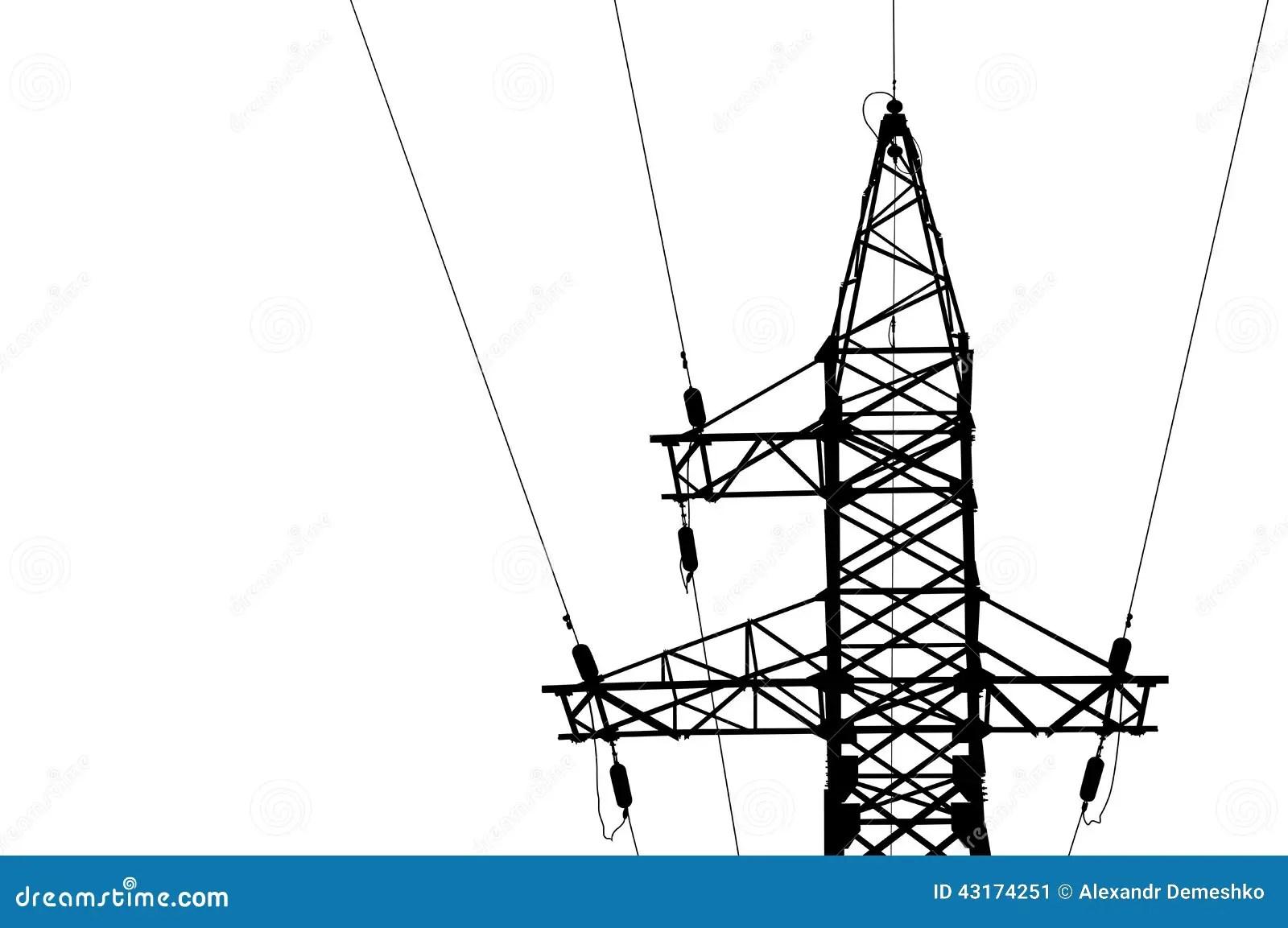 Hochspannungsleitungen Und Mast Vektor Abbildung