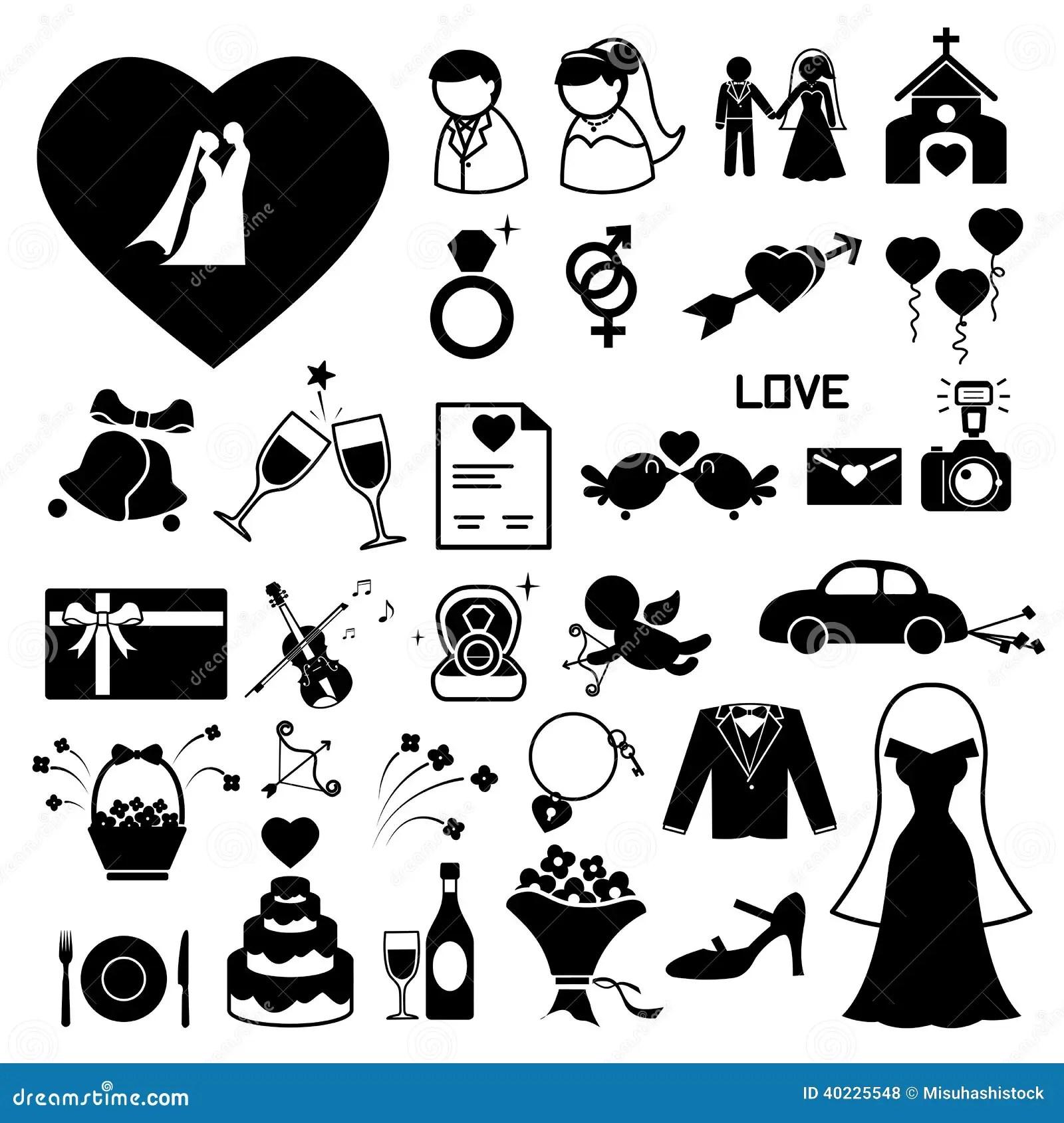Hochzeitsikonen Eingestellt Stockfoto