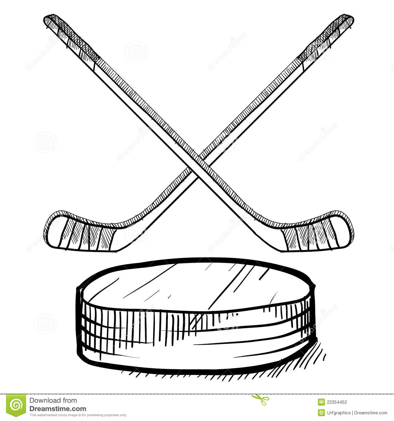 Hockey Stick And Puck Sketch Stock Vector