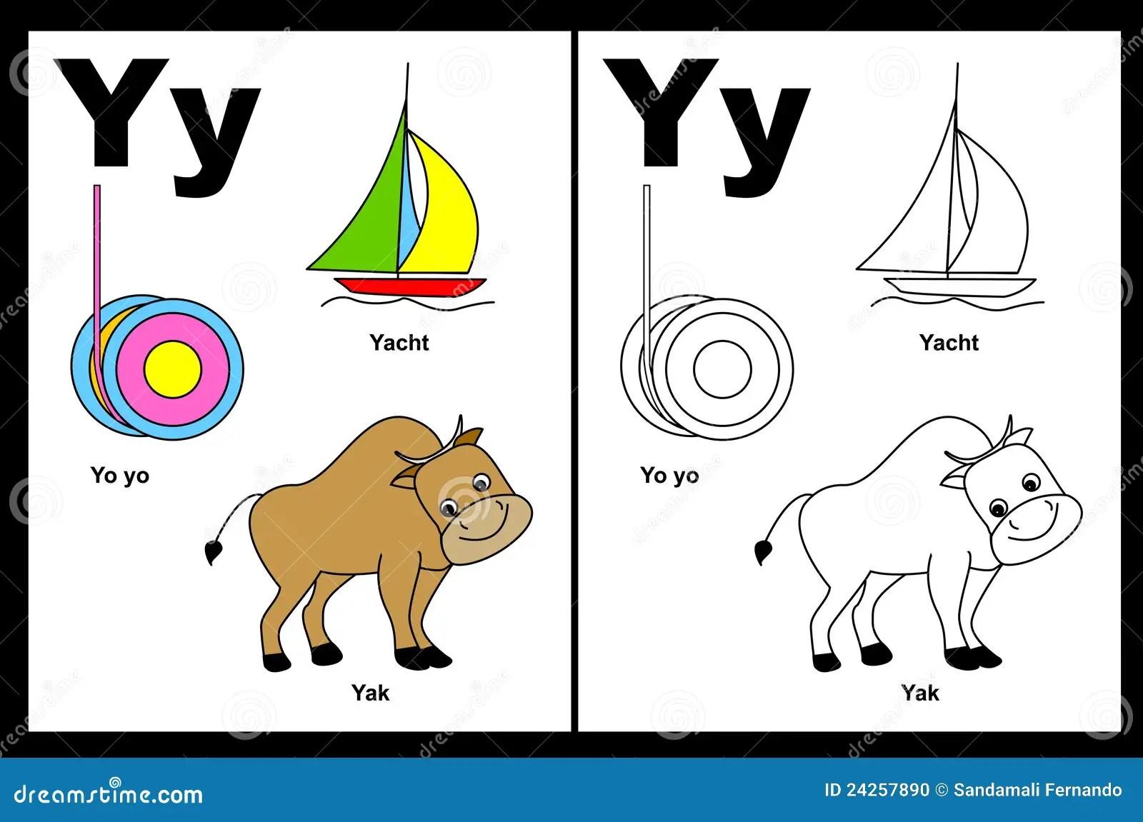 Hoja De Trabajo De La Letra Y Ilustracion Del Vector