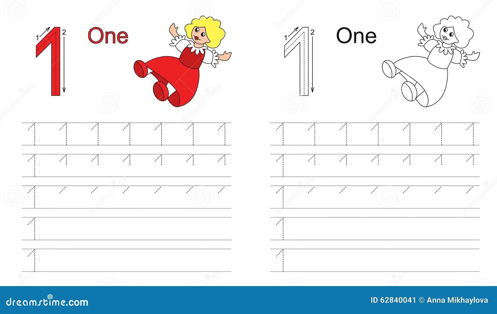 Hoja De Trabajo De Trazado Para La Letra 1 Ilustracion Del Vector